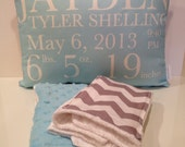 New Baby Gift Set- personalized birth announcement pillow and burp cloth set