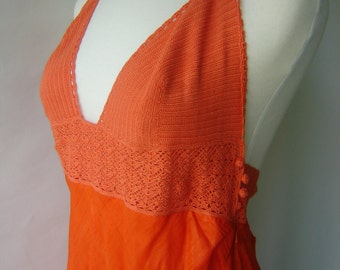 Ralph Lauren Vintage Cotton Orange Linen Dress Brand New
