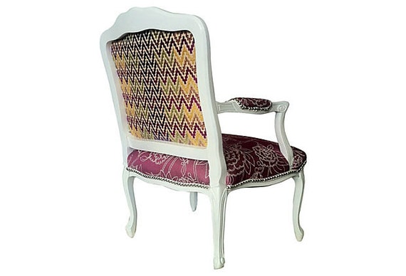 Items Similar To Throne Magenta Floral Upholstered French