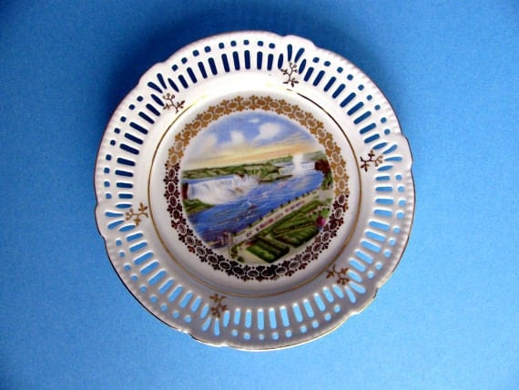 Niagara Falls Souvenir Plate German Porcelain Decorative Plate
