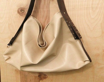 Cream Faux Leather Hobo Bag w/ Brown Strap