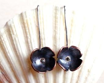 Small flower metalwork earrings, Handmade flower jewelry