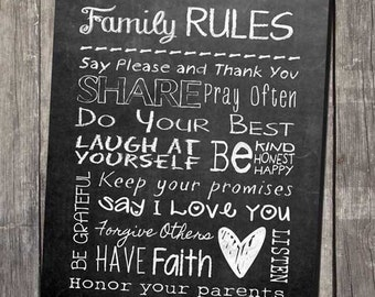 Faux Chalkboard Home Decor Family Rules Printable Subway Wall Art - INSTANT DOWNLOAD