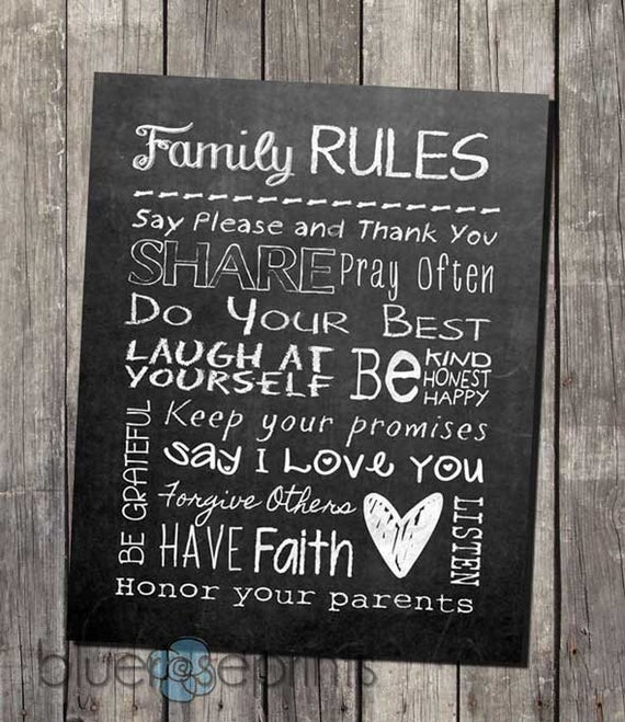 Faux chalkboard home decor family rules printable subway wall for Home decorating guidelines