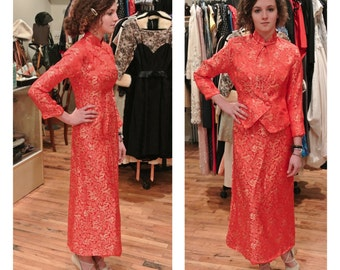 1980s Red and Gold Asian Style Maxi Dress Kimono Dress Party Dress with Matching Cropped Jacket Cocktail Dress