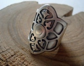 Custom Listing For K - Petite Ornate Saddle - Riveted Brass and Sterling Silver Ring