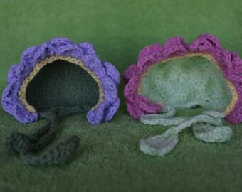crochet flower hat, newborn photo prop