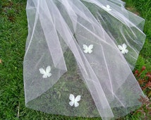 Butterfly Long Cathedral Wedding Veil 1 Tier Cut Edge