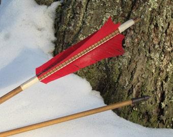 Traditional wood archery arrow, Medieval Style archery arrow, 55-60lb or 30-35lb, Hunting, Renaissance, Long Bow