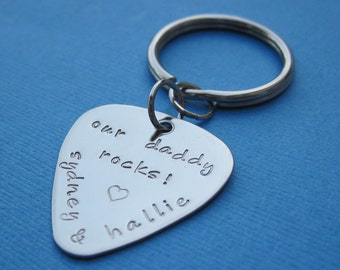 Personalized Father's Day Guitar Pick Key Chain Personalized Stainless Steel Guitar Pick Key Chain - Anniversary Gift Wedding Gift