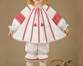 Vyshyvanka. Ukrainian children's suit. Children's costume embroidery. Embroidered trousers, blouse, headband. Ukrainian Girls' Clothing