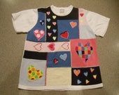 FREE US SHIPPING!! Love Hearts Vintage Pattern Short Sleeve Sweater