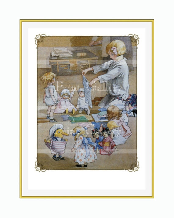Edwardian Child Playing Dolls Teddy Toys Duck Dressing Dolly Nursery Watercolor Print Girl Antique Picture Bedroom Wall Art bb 268