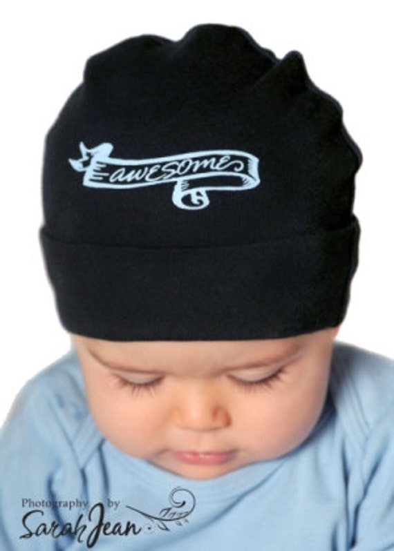 items similar to cool baby boys hat black awesome on etsy