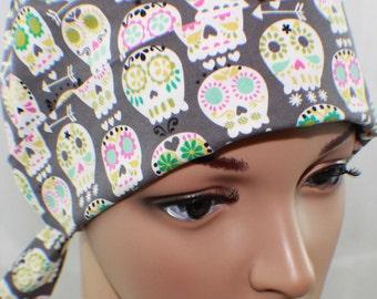 Sugar Skulls,Surgical Scrub Hat, Chemo Style Scrub  Hat , Women's Surgical Scrub Hat,Vet,Vet Tech, OR Nurses Scrub Hat