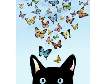 Black Cat Art Print, Cat Poster, Blue Print, Colorful Butterflies, Kids Wall Art Print, Nursery Art, Kids Gift / 8x10