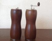 Vintage Mid Century Wood Salt Shaker and Pepper Grinder