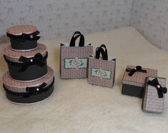 Miniature Dollhouse, bags and boxes