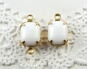Vintage 10x8mm Opaque White Octagon Glass Stones Rhinestones in Brass Drop or Connector Settings - 4