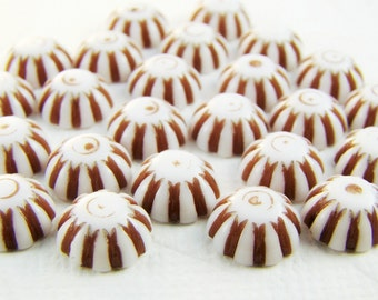 Vintage Plastic Brown & White Candy Stripe 8mm Cabochons - 10
