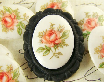 Vintage Chic Pink Rose Limoge Cameo 18x13mm Cabochons Oval - 2
