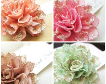 Wooden Wedding Place Cards, Glittered Wooden Flower Place Cards, Bling Wedding, Bridal Shower Place Cards