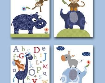 Baby Boy Nursery Art Print Children Wall Art Baby Room Decor Kids Print set of 4 Monkey Elephant Giraffe Nursery Alphabet Nursery Blue