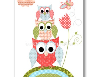 Owl Decor Owl Nursery Baby Girl Nursery art print Childrens Wall Art Baby Room Decor Kids Print Nursery Decor Girl owls rose green