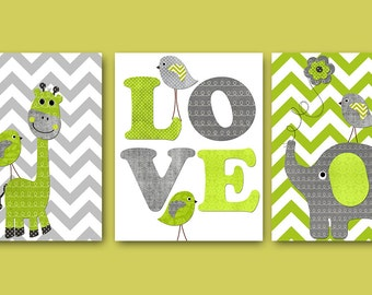 Giraffe Nursery Baby Boy Nursery Art Nursery Wall Art Baby Nursery Kids Room Decor Kids Art set of 3 Bird Elephant Nursery Gray Green