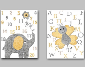 Elephant Nursery Alphabet Nursery Canvas Alphabet Decor Yellow Grey Butterfly Baby Girl Nursery Art Print Children Art Kid Print set of 2 //