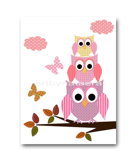 Owl decor baby girl nursery art print childrens by for Baby owl decoration