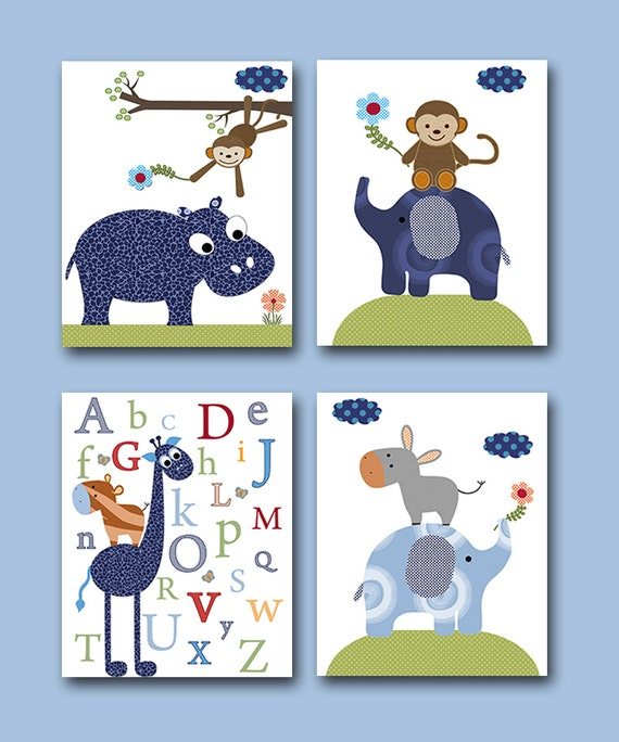 Baby boy nursery art print children wall art baby room decor for Room decor etsy