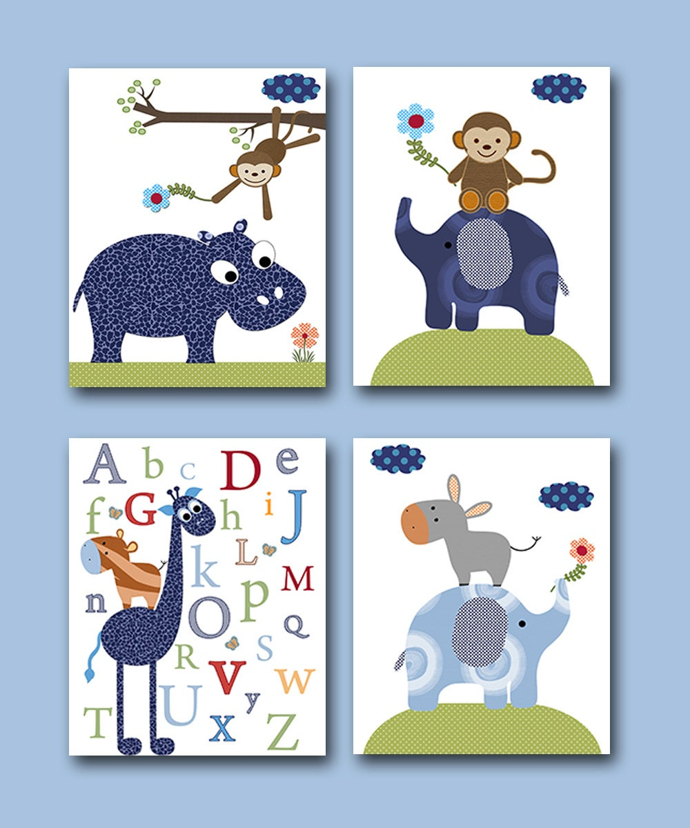 Baby Nursery Art Print Dog Abc Nursery Decor Alphabet Print: Baby Boy Nursery Art Print Children Wall Art Baby Room Decor