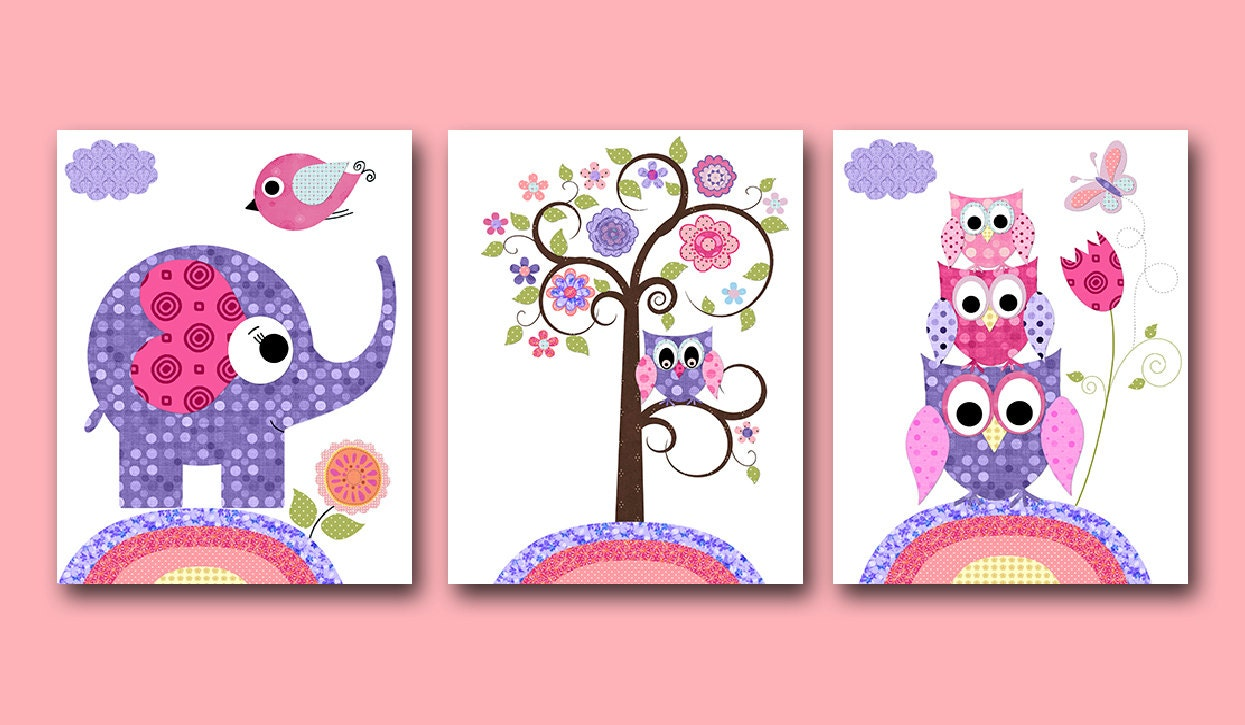 Elephant decor pink purple owl decor owl nursery canvas baby for Room decor etsy