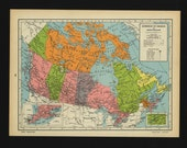 Vintage Map of Canada From 1944 Original