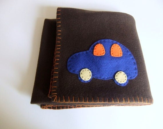 Baby boy blanket - Baby blanket - baby boy blanket chocolate brown fleece with cars - Ready to ship baby blanket