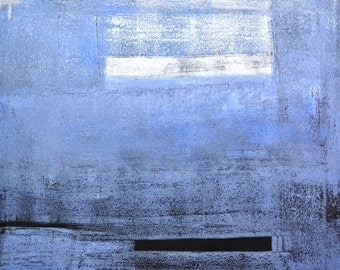 Take A Stand, 2012 - Original Acrylic Artwork Modern Abstract Painting Squares Wall Decorative Free Shipping Grey Blue White 16x20 Canvas