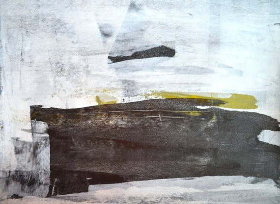 Acrylic Abstract Art Painting Black White Yellow Modern  Acrylic Abstrac...