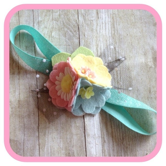 Spring felt flower daisy bow headband baby-toddler-child