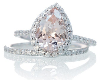 bridal set with matching band morganite engagement ring 14k white gold pear cut diamond halo morganite - Morganite Wedding Rings