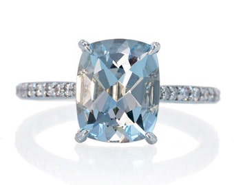 Platinum 10x8mm Cushion Cut Solitaire Aquamarine Engagement Anniversary Wedding Ring