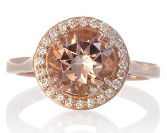 Rose Gold Round Diamond Halo Morganite Solitaire Engagement Anniversary Gemstone Ring