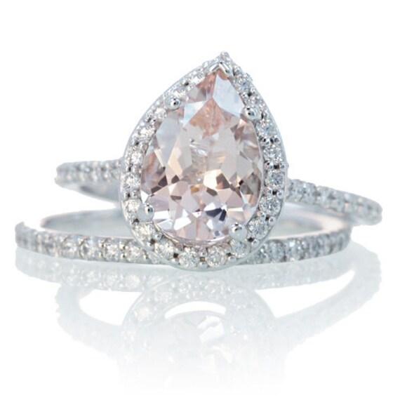 bridal set with matching band morganite engagement ring 14k white gold pear cut diamond halo morganite - Teardrop Wedding Rings
