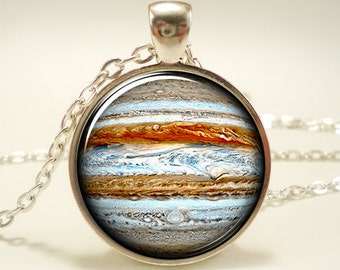Jupiter Necklace, Planet Pendant, Universe Galaxy Science Jewelry (1558S1IN)