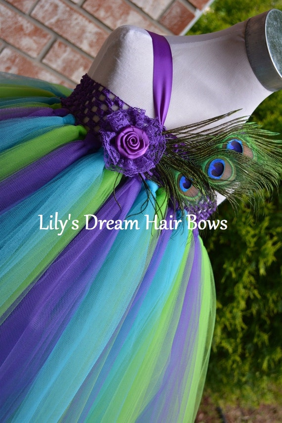 5OFF Peacock Tutu Dress Purple Green And By LilysDreamHairBows