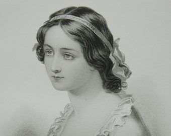 Portrait of Victorian woman, Steel engraving, Victorian beauty, Young lady J Fisher Victorian woman, Gallery of British Artists
