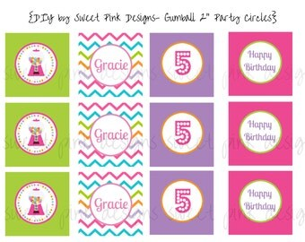 "Printable 2"" Circles- Gumball Party  Collection"
