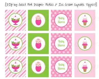 Pickles and Ice Cream Baby Shower Cupcake Toppers