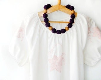 Rustic Necklace Hemp chunky jewelry Blackberry Black brown necklace Colorblock  Boho style Peasant blouse Statement Necklace Earth earthy