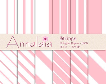 Digital Paper Pack: Pink White Vertical Diagonal Stripes Lines 12x12 8,5x11 Baby Girl Scrapbook Paper Instant Download Commercial Use 361